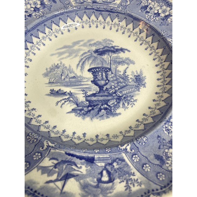 Antique Staffordshire Blue and White Soup Bowls/Plates - Set of 7 For Sale - Image 4 of 9