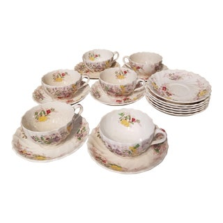 "Copeland Spode England Antique ""Fairy Dell"" Tea Cups -18 Pieces For Sale"