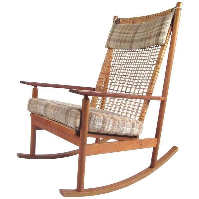 Vintage Hans Olsen Teak Rocking Chair With Cane Back For Sale - Image 13 of 13