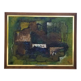 1970s Romanian Artist Grigore Oil Impasto Abstract Painting For Sale