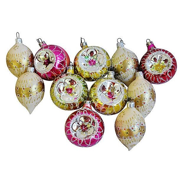 fancy vintage christmas tree ornaments wboxes set of 12 for sale image - Vintage Christmas Ornaments For Sale