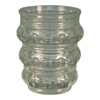 French Crystal Modernist Glass Vase For Sale