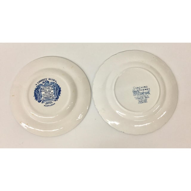Blue 1950s Boho Chic Stoneware England Butter or Pickle Plates - a Pair For Sale - Image 8 of 9