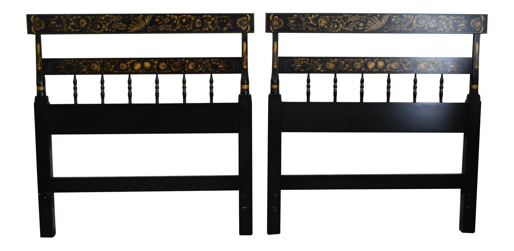 Hitchcock Black Stenciled Twin Headboards A Pair Chairish