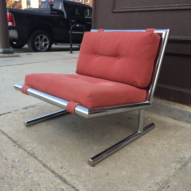 This chrome Mid-Century chair is so fun with great lines! Chrome is pristine and chair retains its original upholstery....