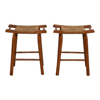 Pair of Rattan + Walnut Mid Century Modern Stools For Sale