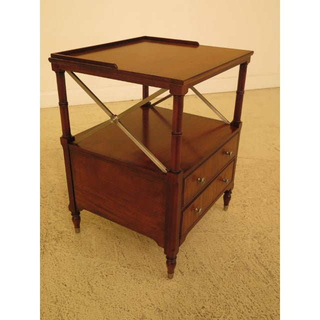 Ethan Allen Vintage Ethan Allen 2 Drawer Mahogany Side Table For Sale - Image 4 of 12