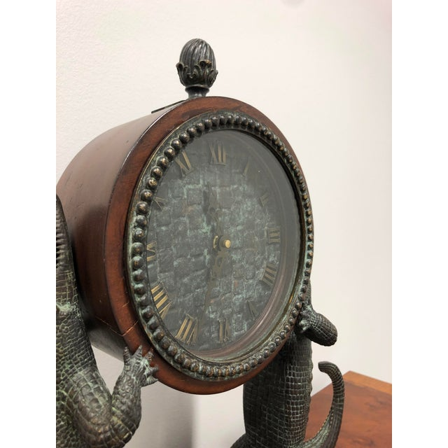 Art Deco Maitland Smith Bronze and Marble Chiming Alligator Mantle Clock For Sale - Image 3 of 13