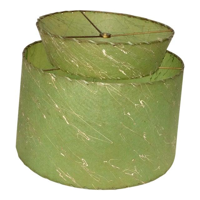 Atomic Green Fiberglass 2 Tier Lampshade For Sale