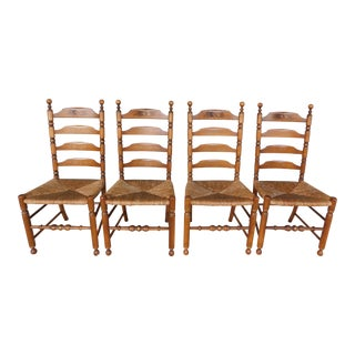 L Hitchcock Harvest Stenciled Ladder Back Rush Bottom Chairs - Set of 4 For Sale
