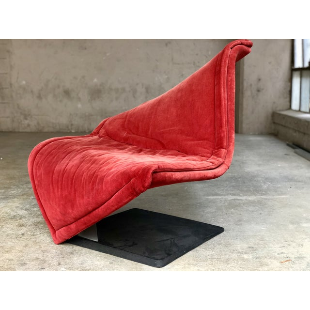 1980s Flying Carpet Chair by Simon De Santa - Abstract Contemporary Modern Red Suede Velvet Chair For Sale - Image 5 of 11