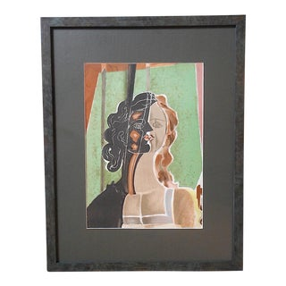 "Vintage Mid 20th C. Lithograph-""Figure""-Georges Braque From Verve Art Journal-Framed For Sale"