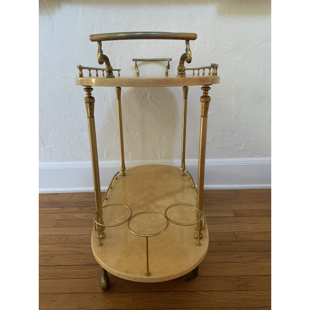 Tan Aldo Tura Parchment and Brass Bar Cart For Sale - Image 8 of 13