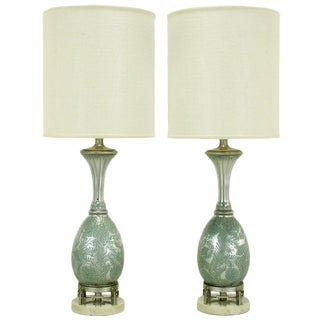 Pair of Reverse Silvered and Hand-Painted Glass Table Lamps For Sale
