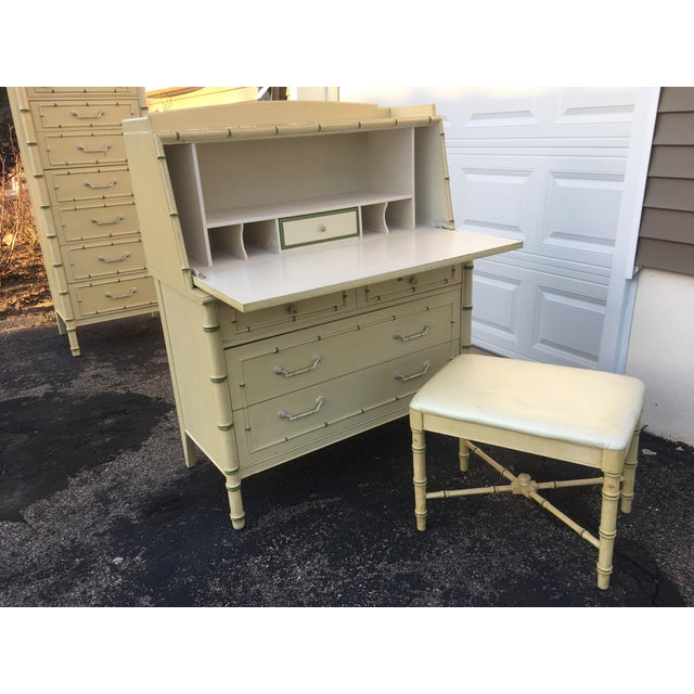 Fabric 1970's Hollywood Regency Thomasville Faux Bamboo Secretary Desk and Bench - 2 Pieces For Sale - Image 7 of 13