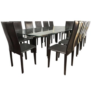 Italian Arper Dining Table Set - 13 Pieces For Sale