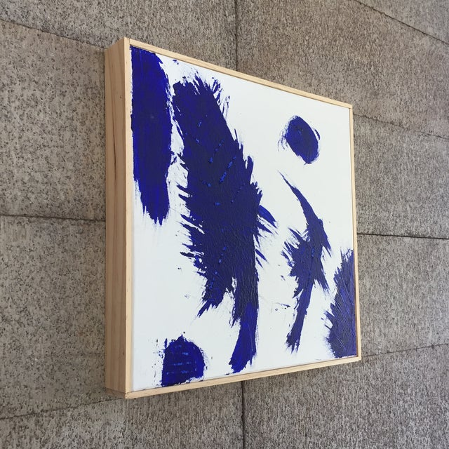 Paint Blue on White Framed Abstract Landscape Painting For Sale - Image 7 of 9