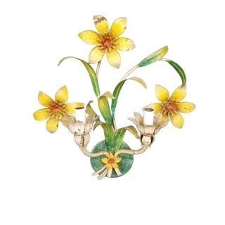 Yellow Daisy Tole Metal Sconce