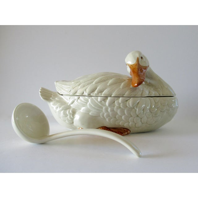 Vintage Fitz & Floyd Duck Ceramic Soup Tureen With Ladle For Sale - Image 11 of 13