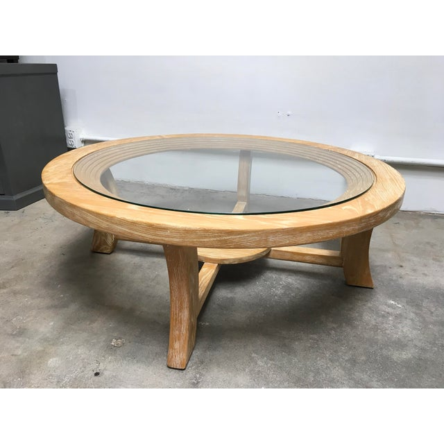 White 1940s Mid-Century Modern Paul Frankl for Brown Saltman Round Cerused Oak Coffee Table For Sale - Image 8 of 12