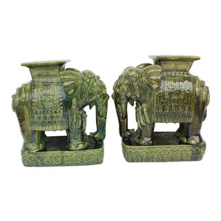1960s Asian Green Vietnam Import Elephant Garden Stools - a Pair For Sale