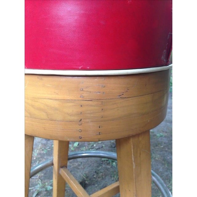 Vintage Thonet-Style Red Vinyl Bar Stools - A Pair - Image 3 of 4