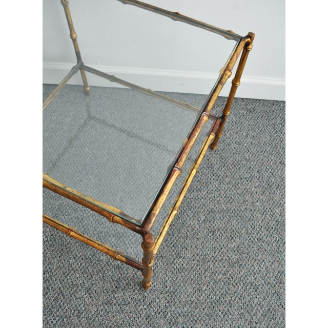 Vintage Italian Gold Gilt Faux Bamboo Table - Image 8 of 11