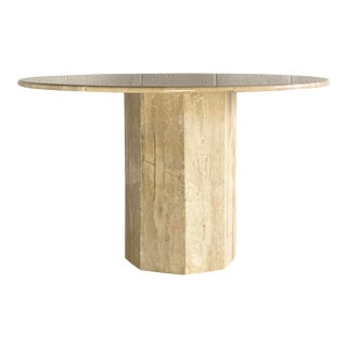 1970s Italian Round Travertine Stone Dining or Center Table For Sale