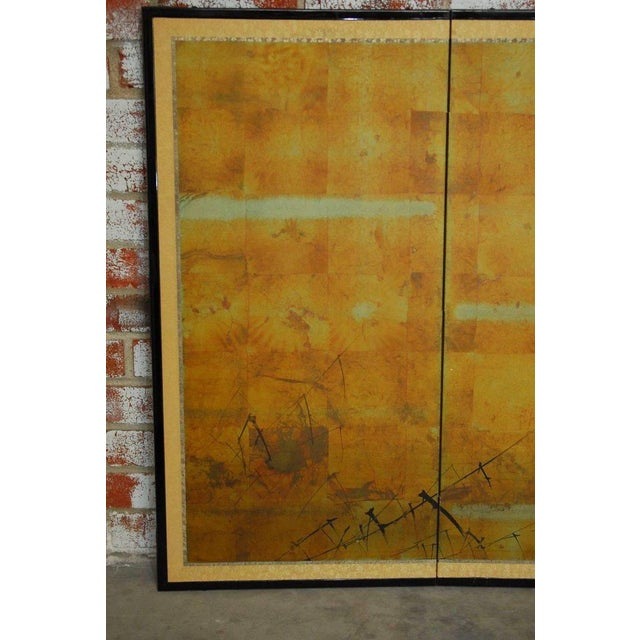 Gold Japanese Four-Panel Byobu Screen Autumn Geese For Sale - Image 8 of 11
