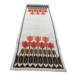 1960s Vintage Swedish Handmade Embroidered Floral Table Runner For Sale