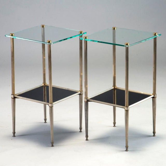 Sophisticated Pair Silvered Brass Side Tables With Square Glass Top - Black and brass side table