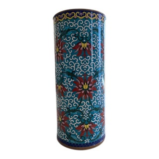 1960s Painted Enamel on Brass Vase For Sale