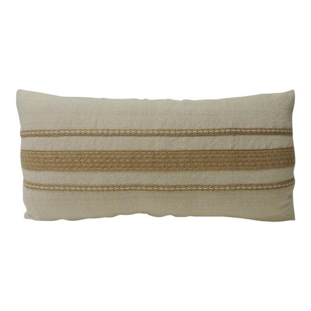 Vintage Linen Bolster Decorative Pillow With Vintage Jute Trims For Sale