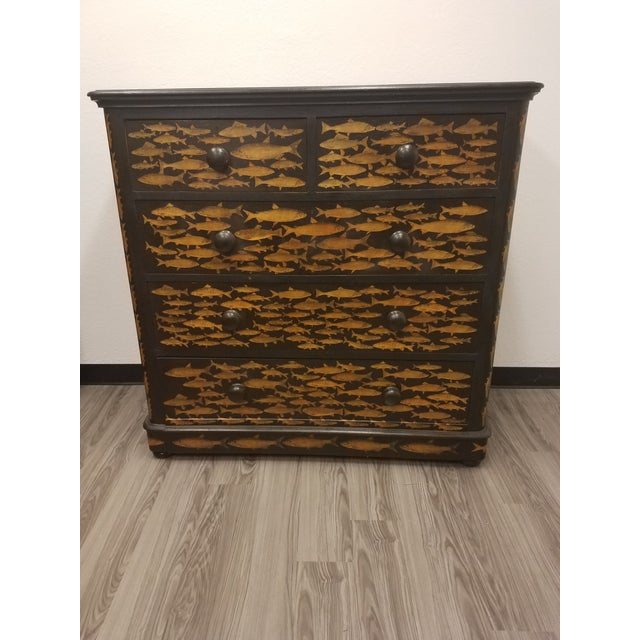 Antique English Fish Decoupage Chest of Drawers For Sale - Image 13 of 13