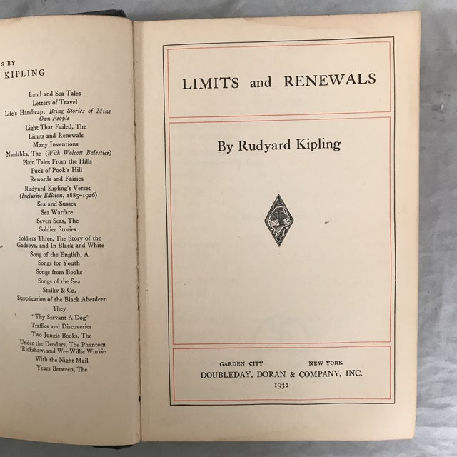This is Kipling's final collection of short stories published shortly after the death of his only son. Limits and Renewals...