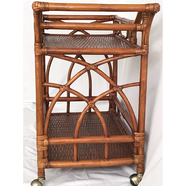 Vintage Rattan Bamboo Bar Cart For Sale - Image 6 of 10