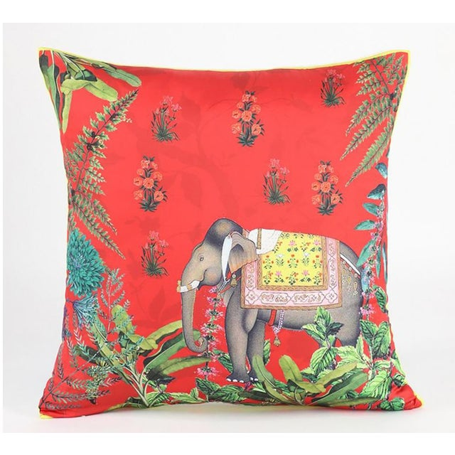 Silk Boho Chic Elephant Silk Cushion Red Gray - a Pair For Sale - Image 7 of 9