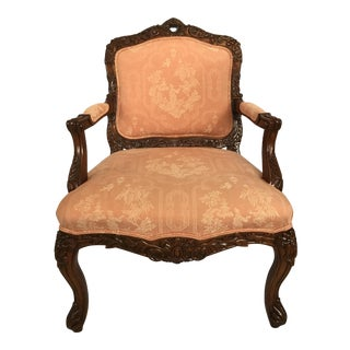 Carved French Walnut Louis XVI Arm Chair