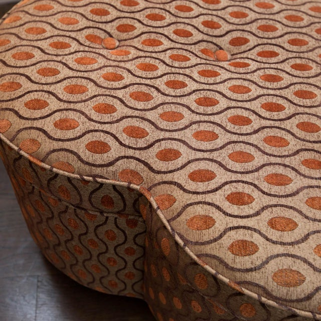 Trefoil Shaped Upholstered Ottoman For Sale - Image 5 of 6