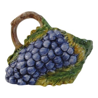 1980s Italian Bassano Majolica Grape Pitcher For Sale