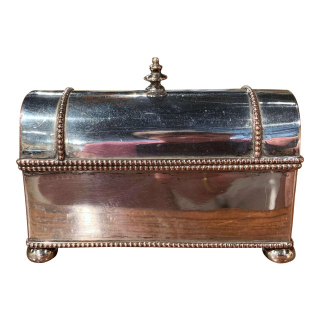 19th Century French Silver Plated Over Copper Casket Inkwell For Sale