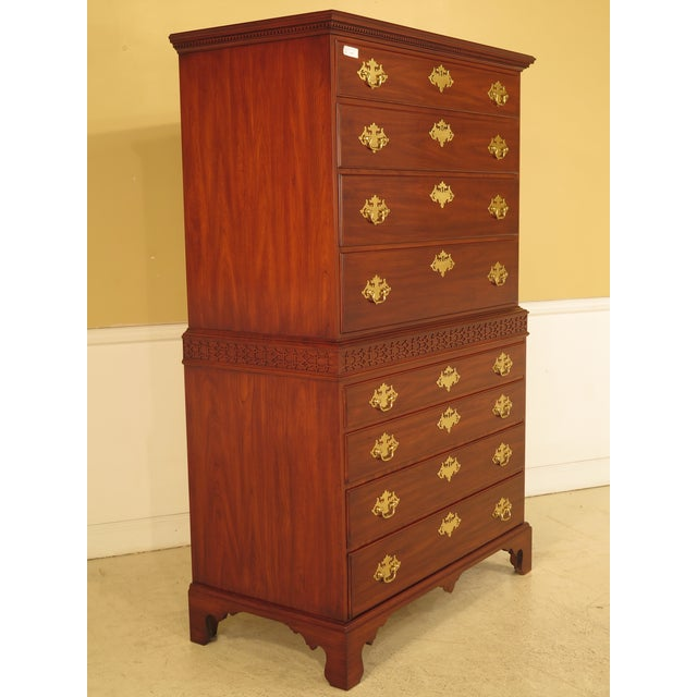 Chippendale Henkel Harris 2-Piece Cherry Perkins Chest on Chest For Sale - Image 3 of 11