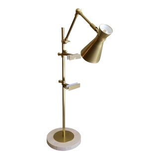 Italian Style Brushed Brass Table Easel Lamp For Sale