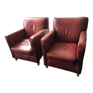 Bradington Young Leather Club Chairs - a Pair
