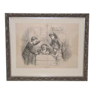 "Thomas Nast ""A Christmas Box"" Harper's Weekly Illustration C.1880s For Sale"