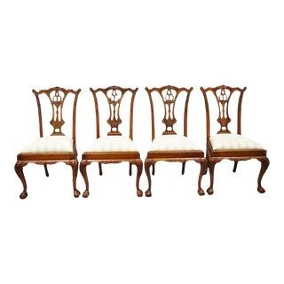 Late 20th Century Vintage Chippendale Style Dining Chairs - Set of 4 For Sale