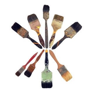 Group Vintage Artist Paint Brushes - Set of 9