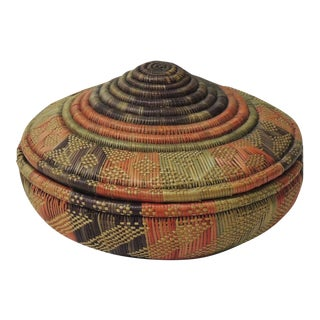 Vintage Colorful Round Lidded African Basket For Sale