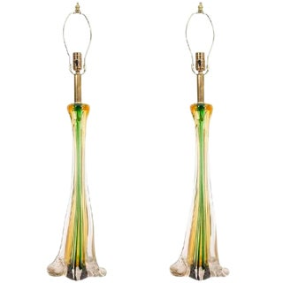 BEAUTIFUL PAIR OF CENEDESE MURANO GLASS TABLE LAMPS For Sale