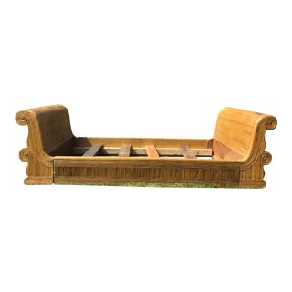 Vintage Mid Century Gabriella Crespi Style Split Reed Bamboo Art Deco Style Daybed For Sale